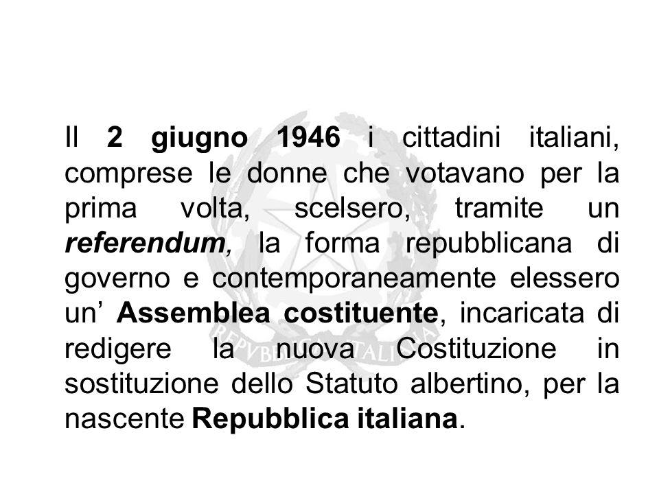 Il 2 giugno 1946 i cittadini italiani, comprese le donne che votavano per la prima volta, scelsero, tramite un referendum, la forma repubblicana di go