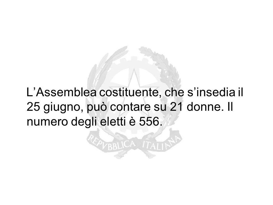 L'Assemblea costituente, che s'insedia il 25 giugno, può contare su 21 donne. Il numero degli eletti è 556.