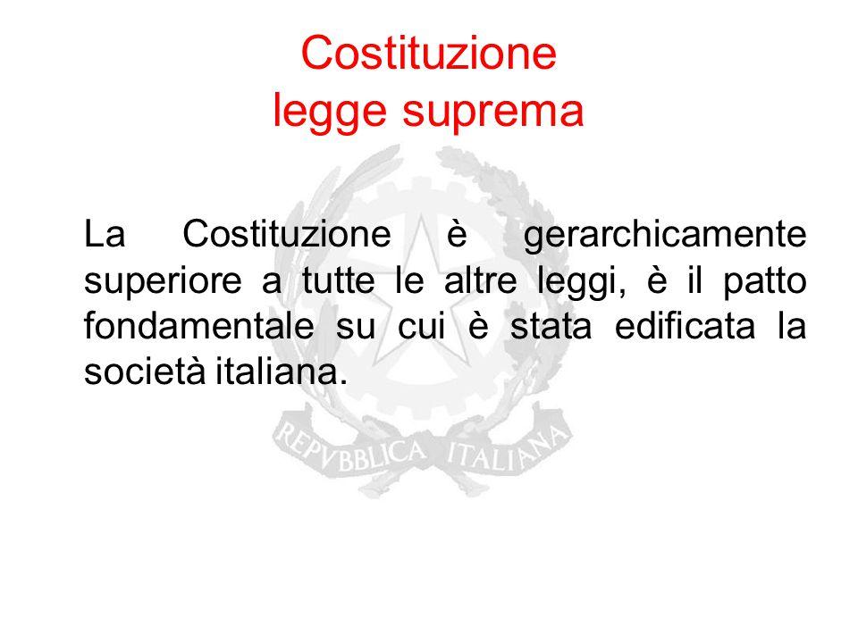 Costituzione legge suprema La Costituzione è gerarchicamente superiore a tutte le altre leggi, è il patto fondamentale su cui è stata edificata la soc