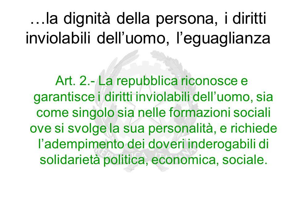 …la dignità della persona, i diritti inviolabili dell'uomo, l'eguaglianza Art. 2.- La repubblica riconosce e garantisce i diritti inviolabili dell'uom