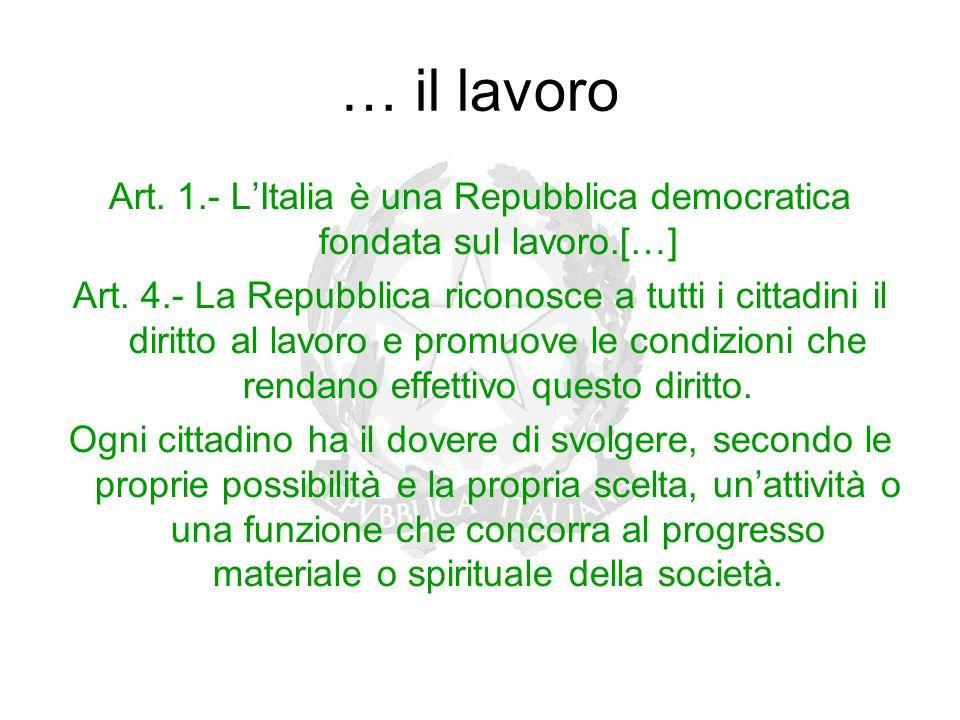 … il lavoro Art. 1.- L'Italia è una Repubblica democratica fondata sul lavoro.[…] Art. 4.- La Repubblica riconosce a tutti i cittadini il diritto al l