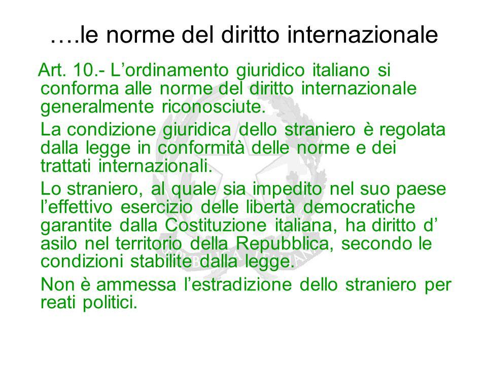 ….le norme del diritto internazionale Art. 10.- L'ordinamento giuridico italiano si conforma alle norme del diritto internazionale generalmente ricono