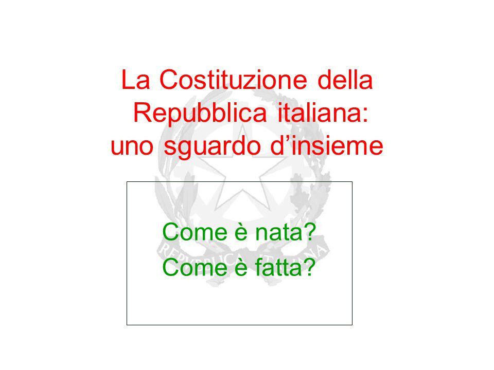 La Costituzione della Repubblica italiana: uno sguardo d'insieme Come è nata? Come è fatta?