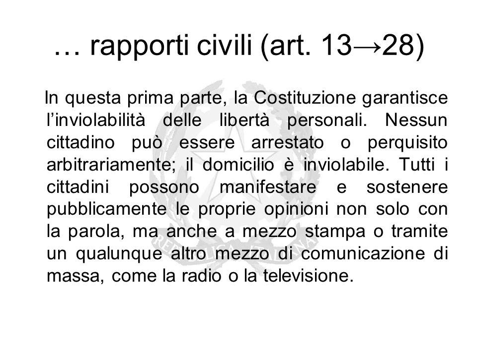 … rapporti civili (art. 13→28) In questa prima parte, la Costituzione garantisce l'inviolabilità delle libertà personali. Nessun cittadino può essere