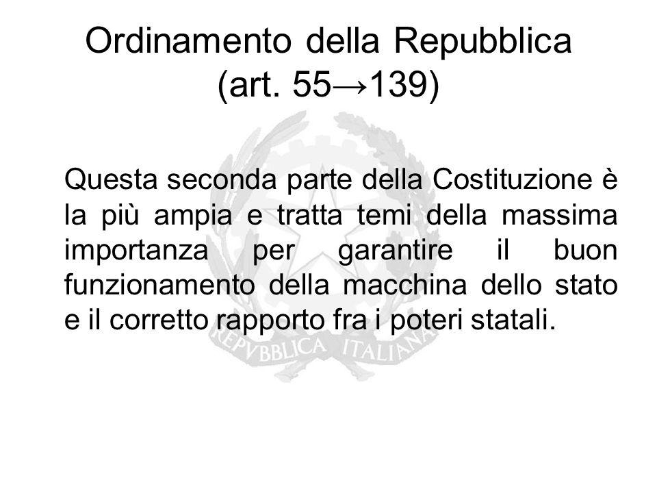 Ordinamento della Repubblica (art. 55→139) Questa seconda parte della Costituzione è la più ampia e tratta temi della massima importanza per garantire