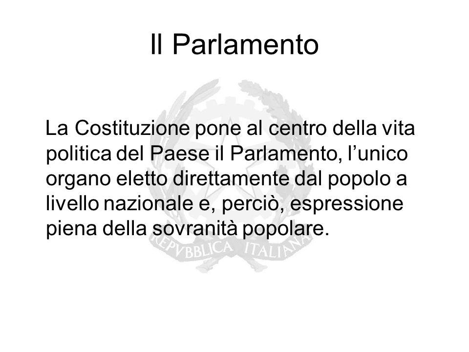 Il Parlamento La Costituzione pone al centro della vita politica del Paese il Parlamento, l'unico organo eletto direttamente dal popolo a livello nazi