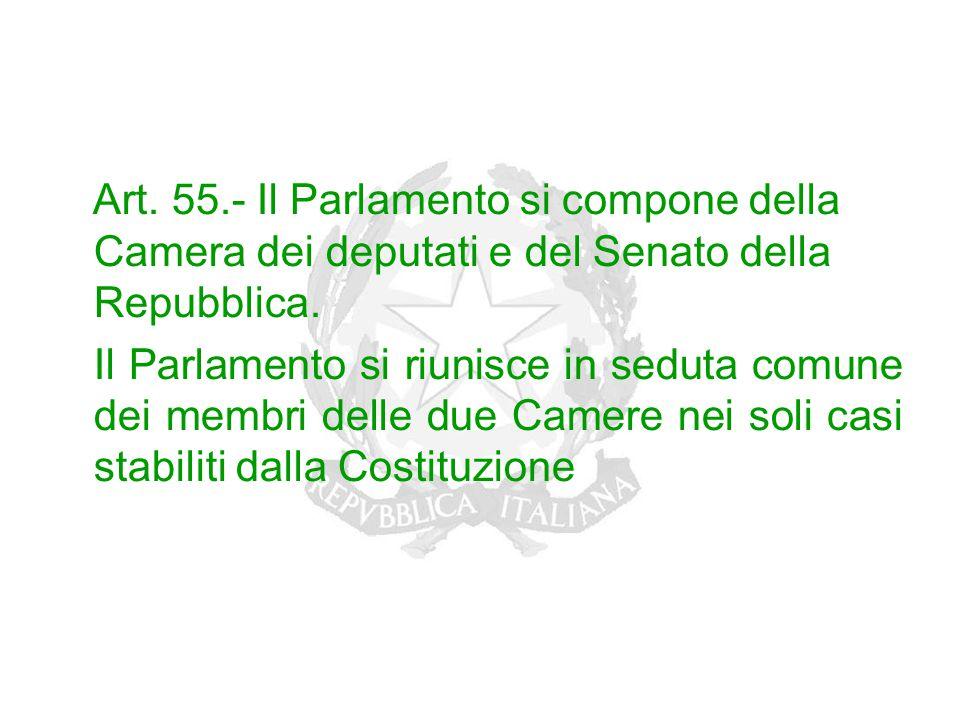 Art. 55.- Il Parlamento si compone della Camera dei deputati e del Senato della Repubblica. Il Parlamento si riunisce in seduta comune dei membri dell