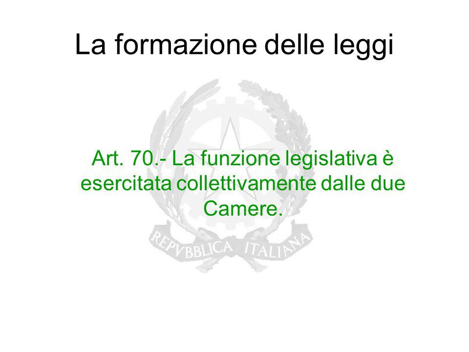 La formazione delle leggi Art. 70.- La funzione legislativa è esercitata collettivamente dalle due Camere.
