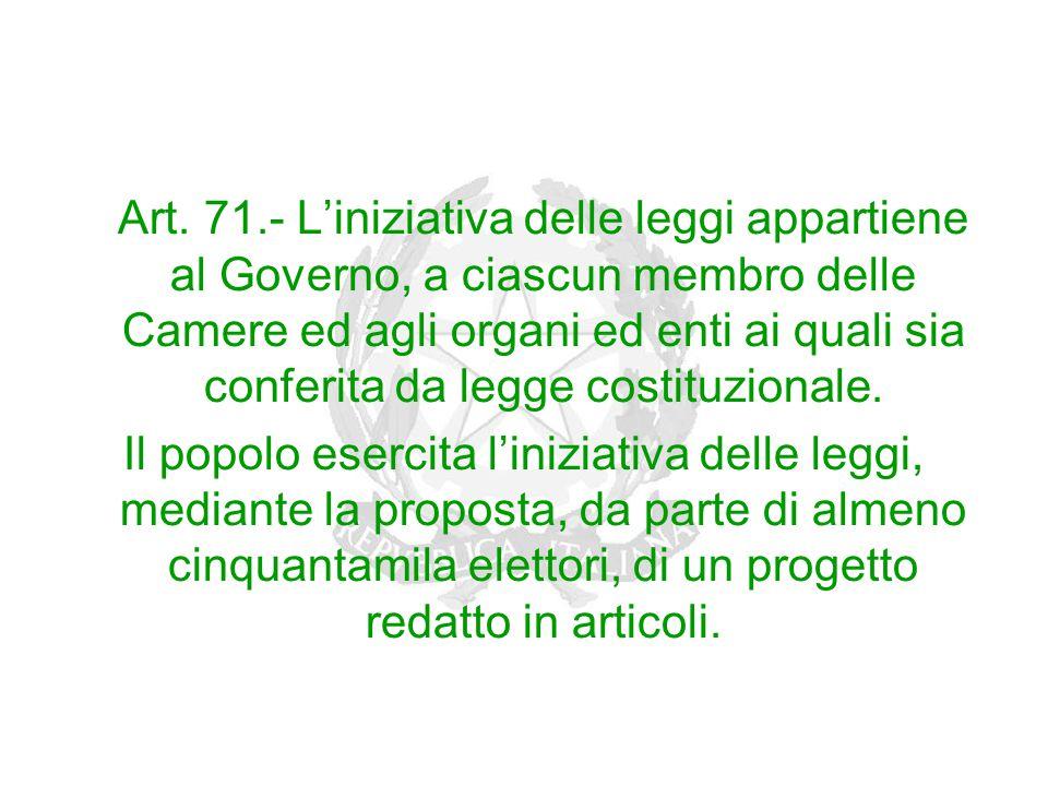 Art. 71.- L'iniziativa delle leggi appartiene al Governo, a ciascun membro delle Camere ed agli organi ed enti ai quali sia conferita da legge costitu
