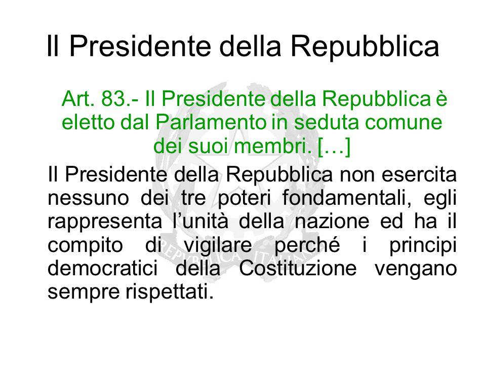 Il Presidente della Repubblica Art. 83.- Il Presidente della Repubblica è eletto dal Parlamento in seduta comune dei suoi membri. […] Il Presidente de