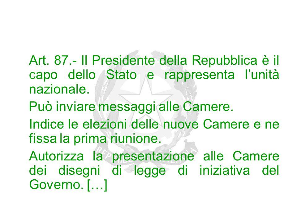 Art. 87.- Il Presidente della Repubblica è il capo dello Stato e rappresenta l'unità nazionale. Può inviare messaggi alle Camere. Indice le elezioni d