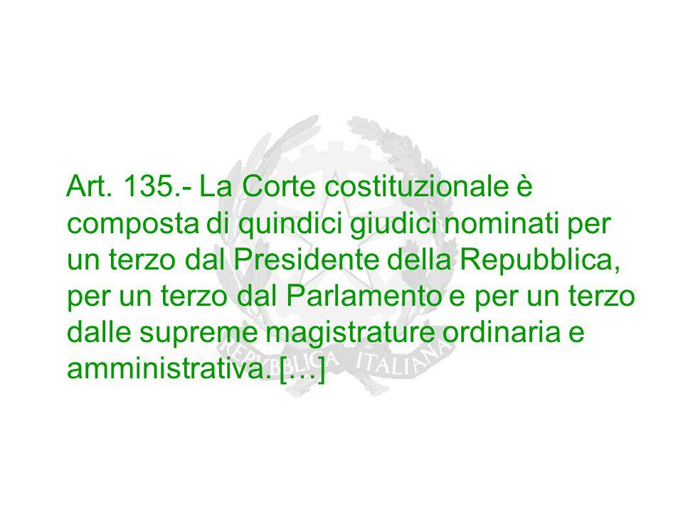 Art. 135.- La Corte costituzionale è composta di quindici giudici nominati per un terzo dal Presidente della Repubblica, per un terzo dal Parlamento e