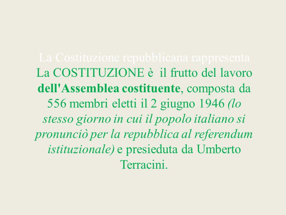 La Costituzione repubblicana rappresenta La COSTITUZIONE è il frutto del lavoro dell'Assemblea costituente, composta da 556 membri eletti il 2 giugno