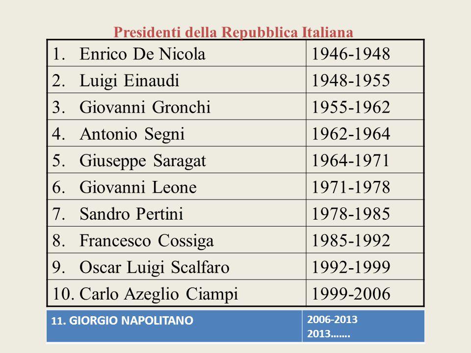 1.Enrico De Nicola1946-1948 2.Luigi Einaudi1948-1955 3.Giovanni Gronchi1955-1962 4.Antonio Segni1962-1964 5.Giuseppe Saragat1964-1971 6.Giovanni Leone