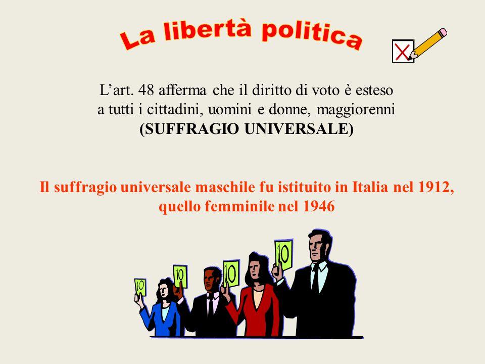 L'art. 48 afferma che il diritto di voto è esteso a tutti i cittadini, uomini e donne, maggiorenni (SUFFRAGIO UNIVERSALE) Il suffragio universale masc