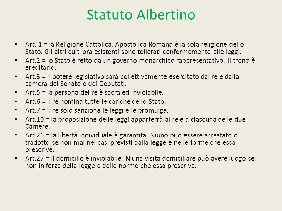 Statuto Albertino Art. 1 = la Religione Cattolica, Apostolica Romana è la sola religione dello Stato. Gli altri culti ora esistenti sono tollerati con