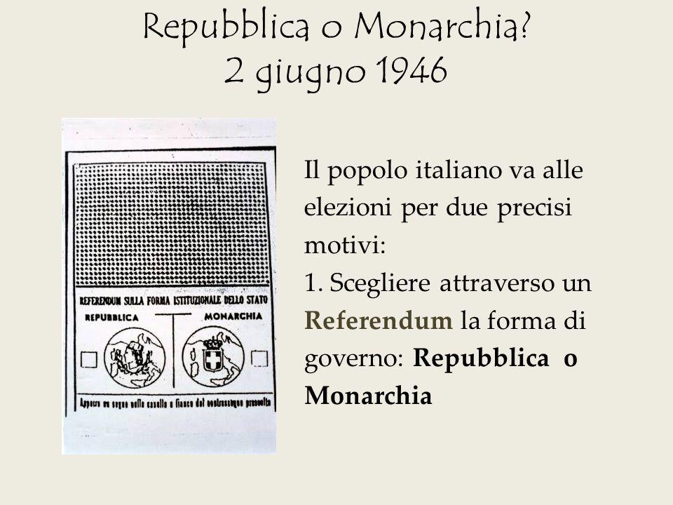 Repubblica o Monarchia? 2 giugno 1946 Il popolo italiano va alle elezioni per due precisi motivi: 1. Scegliere attraverso un Referendum la forma di go