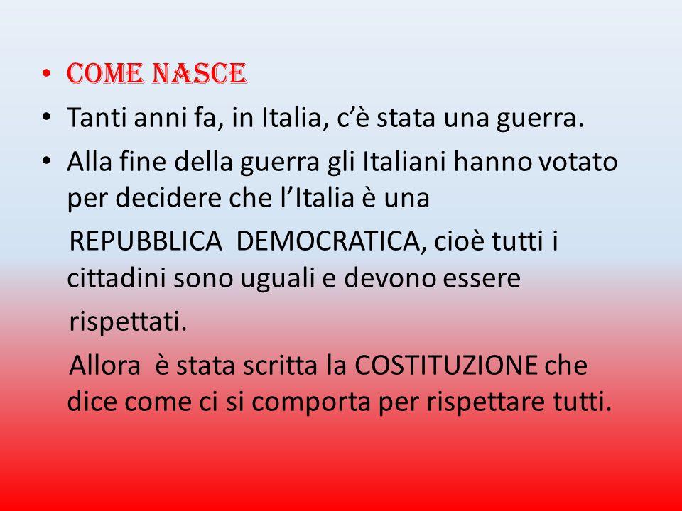 C ome nasce Tanti anni fa, in Italia, c'è stata una guerra. Alla fine della guerra gli Italiani hanno votato per decidere che l'Italia è una REPUBBLIC