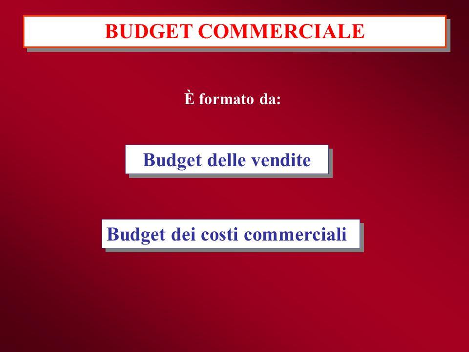 Budget delle vendite Budget dei costi commerciali È formato da: BUDGET COMMERCIALE