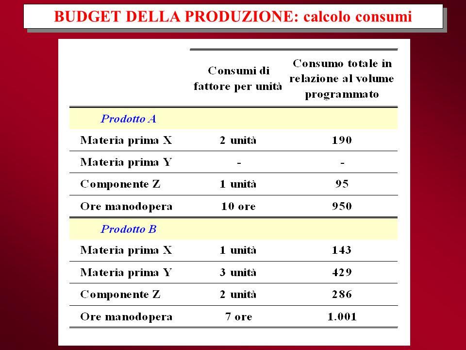 BUDGET DELLA PRODUZIONE: calcolo consumi