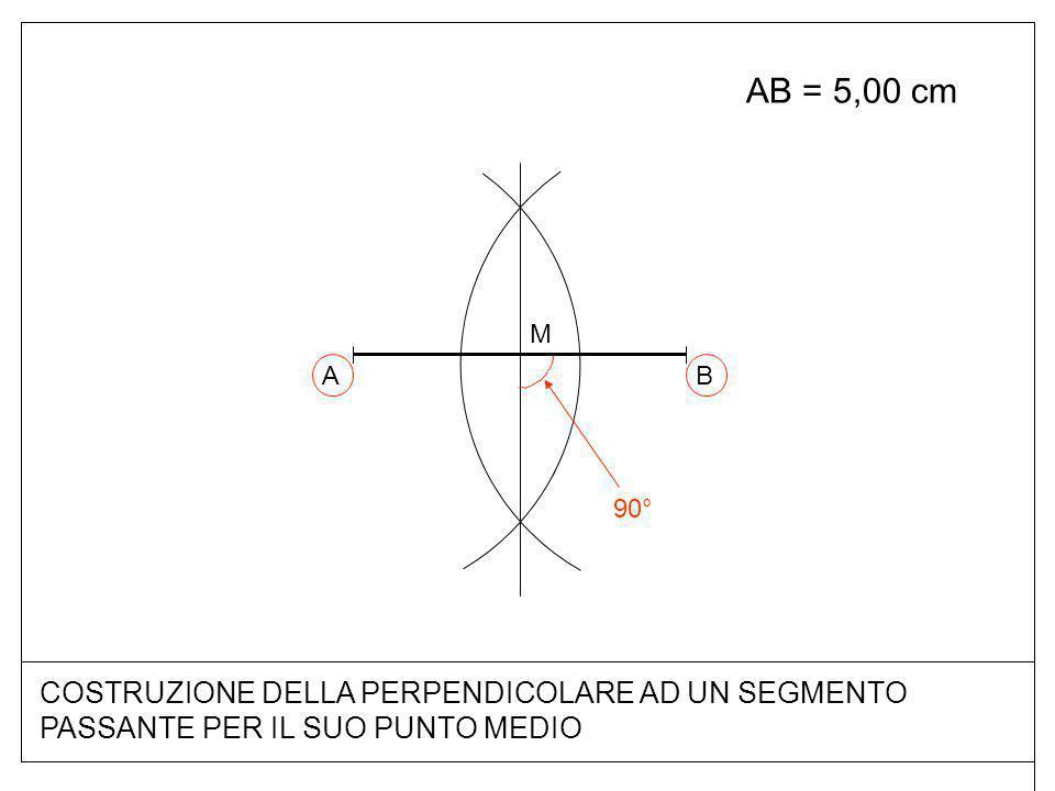 COSTRUZIONE DELLA PERPENDICOLARE AD UN SEGMENTO PASSANTE PER IL SUO PUNTO MEDIO AB = 5,00 cm BA M 90°