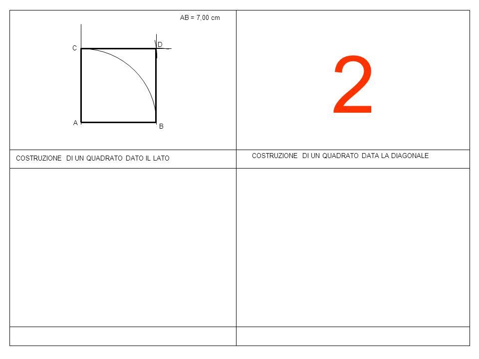 2 COSTRUZIONE DI UN QUADRATO DATA LA DIAGONALE AB = 7,00 cm COSTRUZIONE DI UN QUADRATO DATO IL LATO B A C D