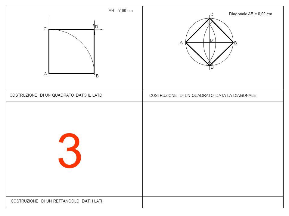 3 COSTRUZIONE DI UN RETTANGOLO DATI I LATI COSTRUZIONE DI UN QUADRATO DATA LA DIAGONALE Diagonale AB = 8,00 cm B A M C D AB = 7,00 cm B A C D COSTRUZI