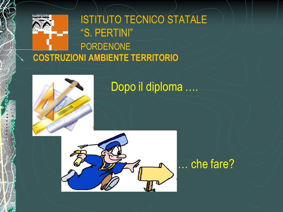 """ISTITUTO TECNICO STATALE """"S. PERTINI"""" PORDENONE … che fare? Dopo il diploma …. COSTRUZIONI AMBIENTE TERRITORIO"""