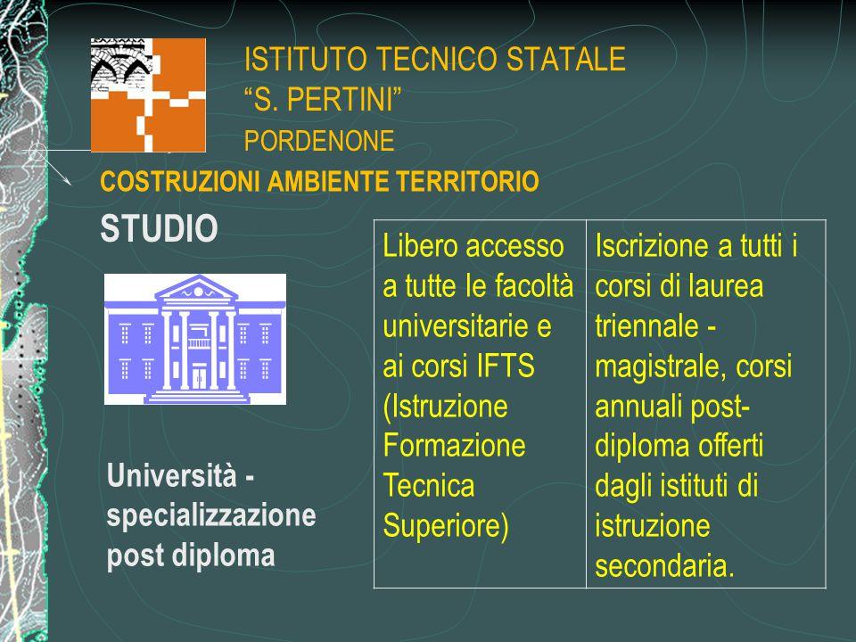 """ISTITUTO TECNICO STATALE """"S. PERTINI"""" PORDENONE STUDIO Università - specializzazione post diploma Libero accesso a tutte le facoltà universitarie e ai"""