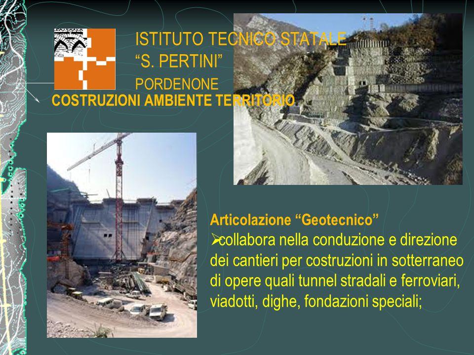 """Articolazione """"Geotecnico""""  collabora nella conduzione e direzione dei cantieri per costruzioni in sotterraneo di opere quali tunnel stradali e ferro"""