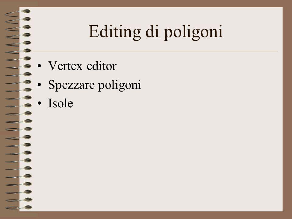 Editing di poligoni Vertex editor Spezzare poligoni Isole