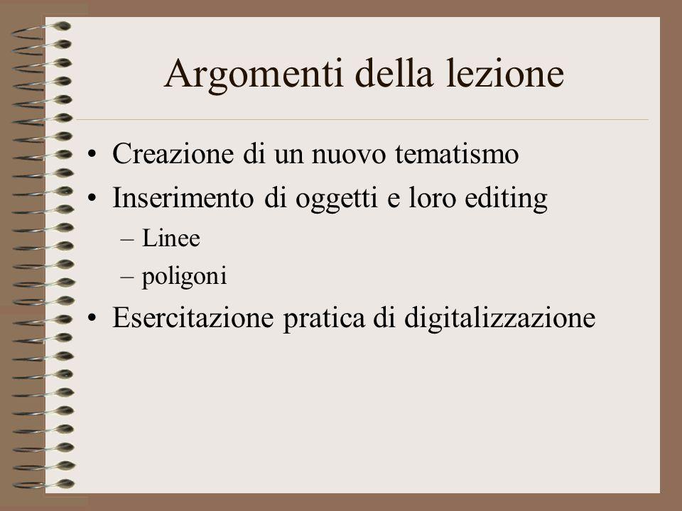 Argomenti della lezione Creazione di un nuovo tematismo Inserimento di oggetti e loro editing –Linee –poligoni Esercitazione pratica di digitalizzazione