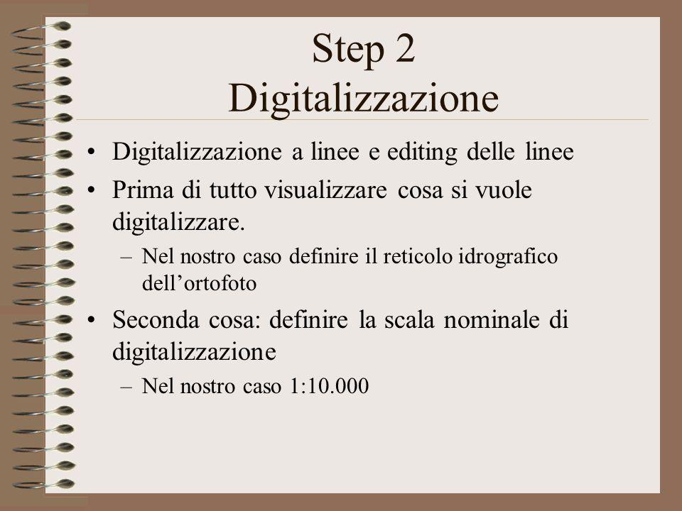 Step 2 Digitalizzazione Digitalizzazione a linee e editing delle linee Prima di tutto visualizzare cosa si vuole digitalizzare.