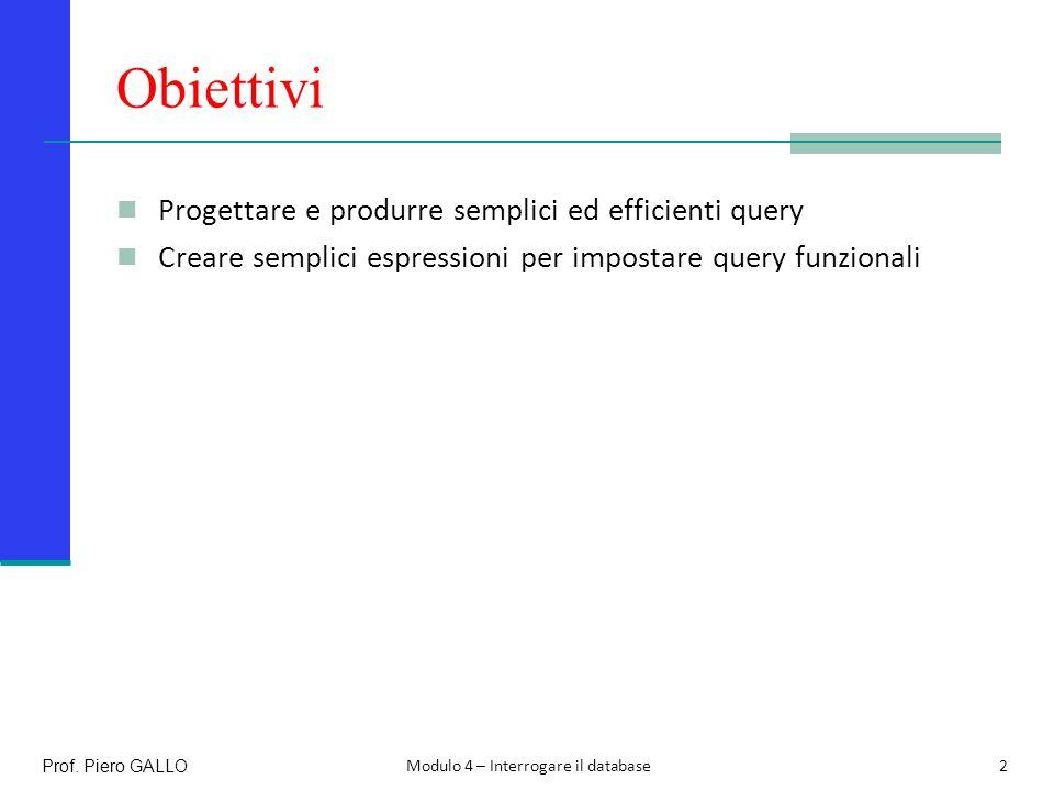 Prerequisiti Le tabelle di Access 3Prof. Piero GALLO Modulo 4 – Interrogare il database