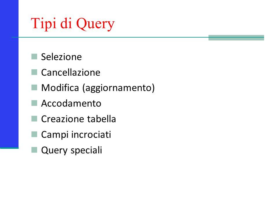 Le Query in Access Le query in Access possono essere espresse tanto graficamente attraverso la griglia QBE (Query by Example) che utilizzando il linguaggio SQL.