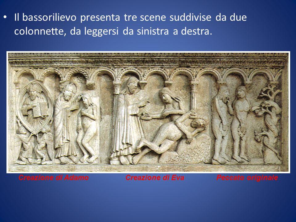 Il bassorilievo presenta tre scene suddivise da due colonnette, da leggersi da sinistra a destra. Peccato originaleCreazione di AdamoCreazione di Eva