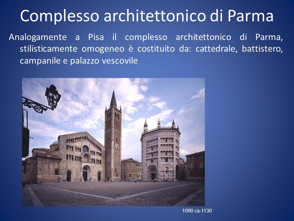Complesso architettonico di Parma Analogamente a Pisa il complesso architettonico di Parma, stilisticamente omogeneo è costituito da: cattedrale, batt