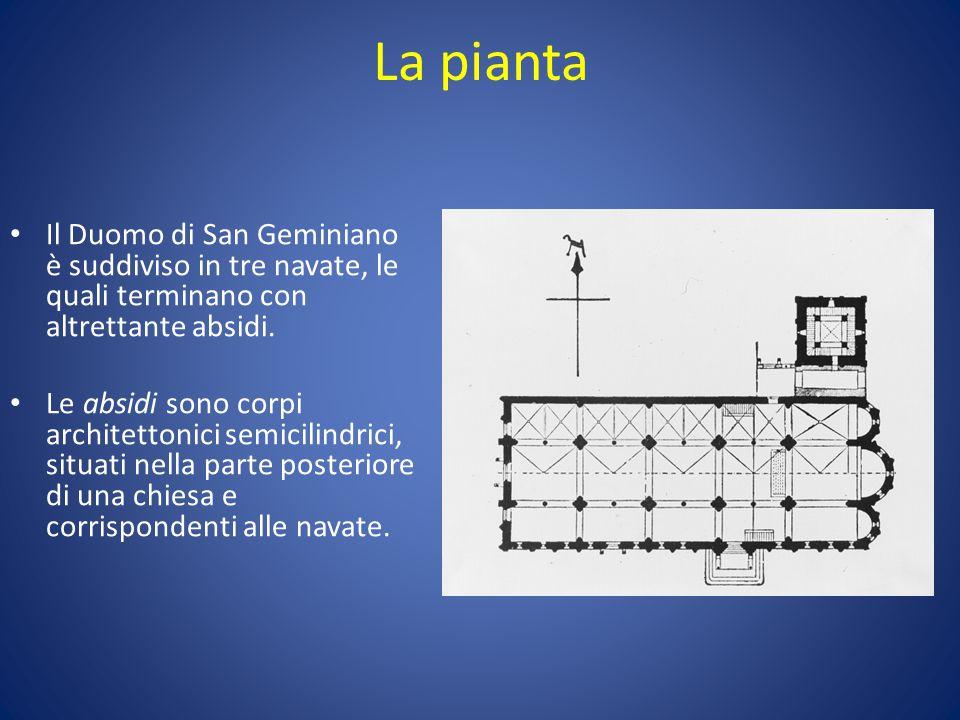 La pianta Il Duomo di San Geminiano è suddiviso in tre navate, le quali terminano con altrettante absidi. Le absidi sono corpi architettonici semicili