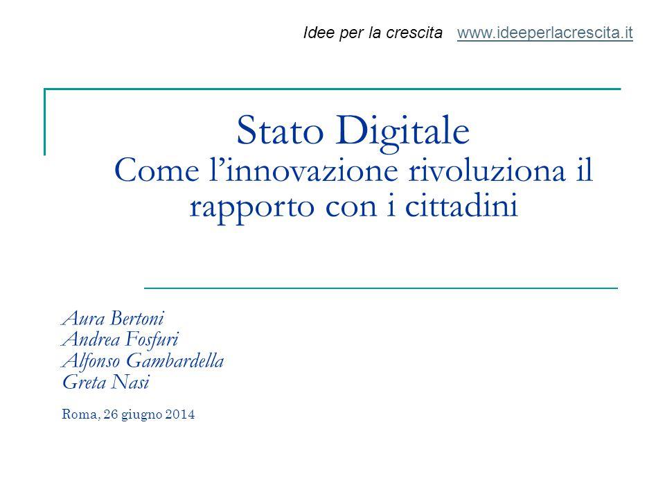 Aura Bertoni Andrea Fosfuri Alfonso Gambardella Greta Nasi Roma, 26 giugno 2014 Stato Digitale Come l'innovazione rivoluziona il rapporto con i cittad
