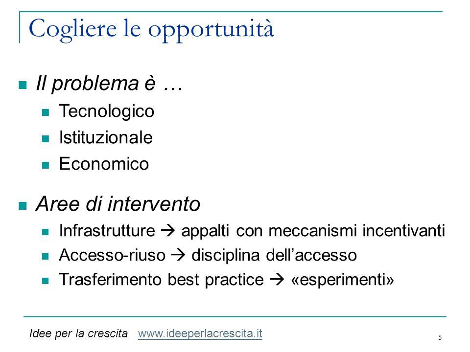 Cogliere le opportunità 5 Il problema è … Tecnologico Istituzionale Economico Aree di intervento Infrastrutture  appalti con meccanismi incentivanti