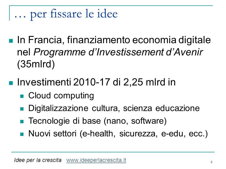 … per fissare le idee 6 In Francia, finanziamento economia digitale nel Programme d'Investissement d'Avenir (35mlrd) Investimenti 2010-17 di 2,25 mlrd