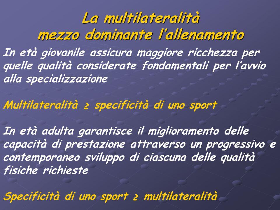 La multilateralità mezzo dominante l'allenamento In età giovanile assicura maggiore ricchezza per quelle qualità considerate fondamentali per l'avvio