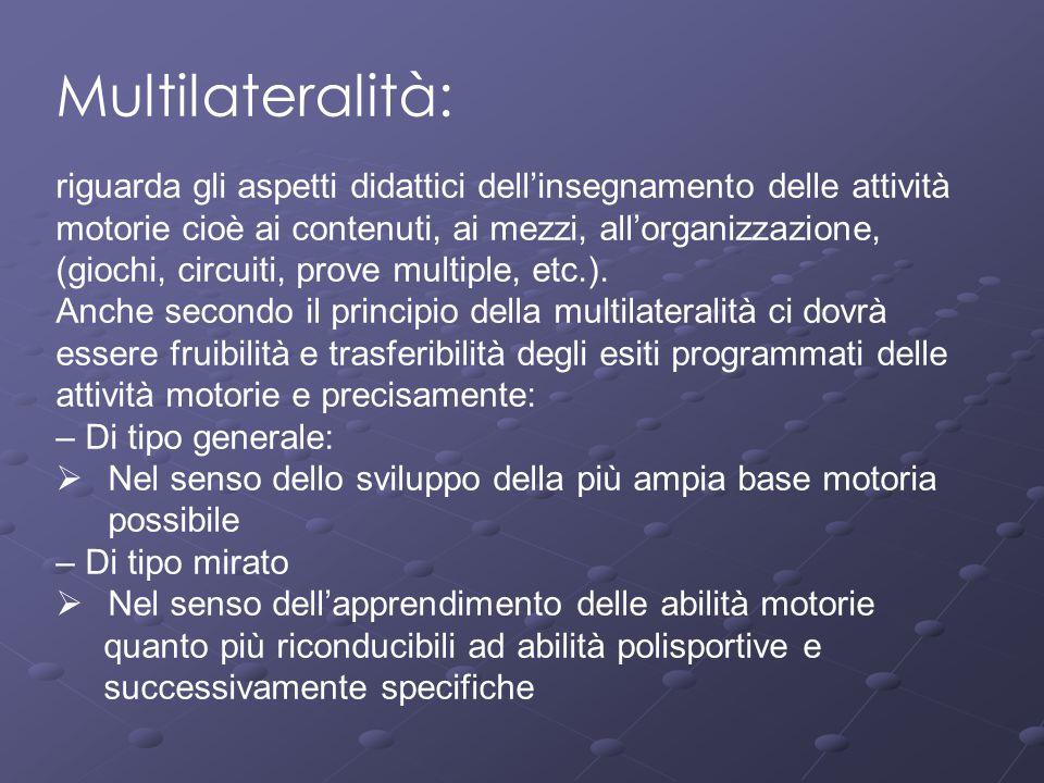 Multilateralità: riguarda gli aspetti didattici dell'insegnamento delle attività motorie cioè ai contenuti, ai mezzi, all'organizzazione, (giochi, cir