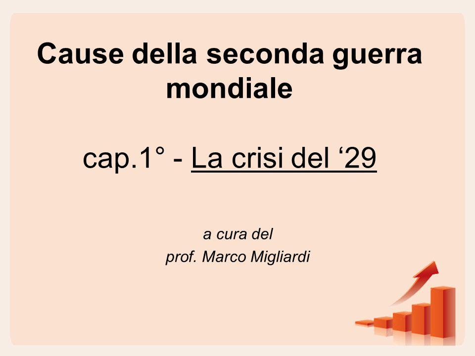 Cause della seconda guerra mondiale cap.1° - La crisi del '29 a cura del prof. Marco Migliardi
