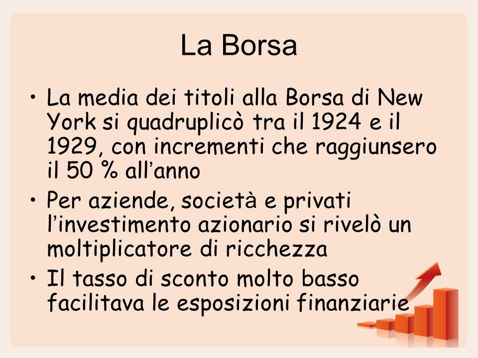 La Borsa La media dei titoli alla Borsa di New York si quadruplicò tra il 1924 e il 1929, con incrementi che raggiunsero il 50 % all ' anno Per aziende, societ à e privati l ' investimento azionario si rivelò un moltiplicatore di ricchezza Il tasso di sconto molto basso facilitava le esposizioni finanziarie