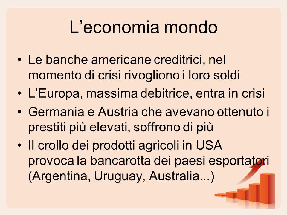 L'economia mondo Le banche americane creditrici, nel momento di crisi rivogliono i loro soldi L'Europa, massima debitrice, entra in crisi Germania e A
