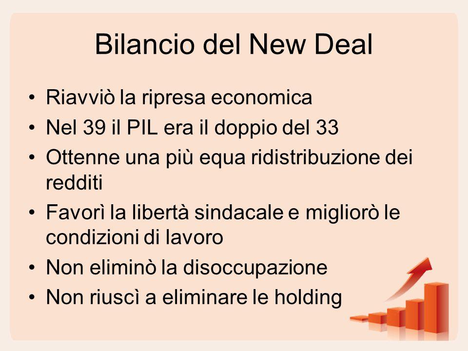Bilancio del New Deal Riavviò la ripresa economica Nel 39 il PIL era il doppio del 33 Ottenne una più equa ridistribuzione dei redditi Favorì la libertà sindacale e migliorò le condizioni di lavoro Non eliminò la disoccupazione Non riuscì a eliminare le holding