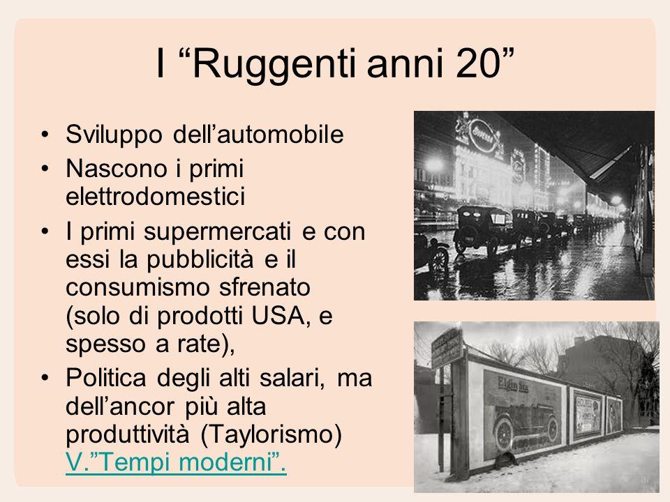 I Ruggenti anni 20 Sviluppo dell'automobile Nascono i primi elettrodomestici I primi supermercati e con essi la pubblicità e il consumismo sfrenato (solo di prodotti USA, e spesso a rate), Politica degli alti salari, ma dell'ancor più alta produttività (Taylorismo) V. Tempi moderni .