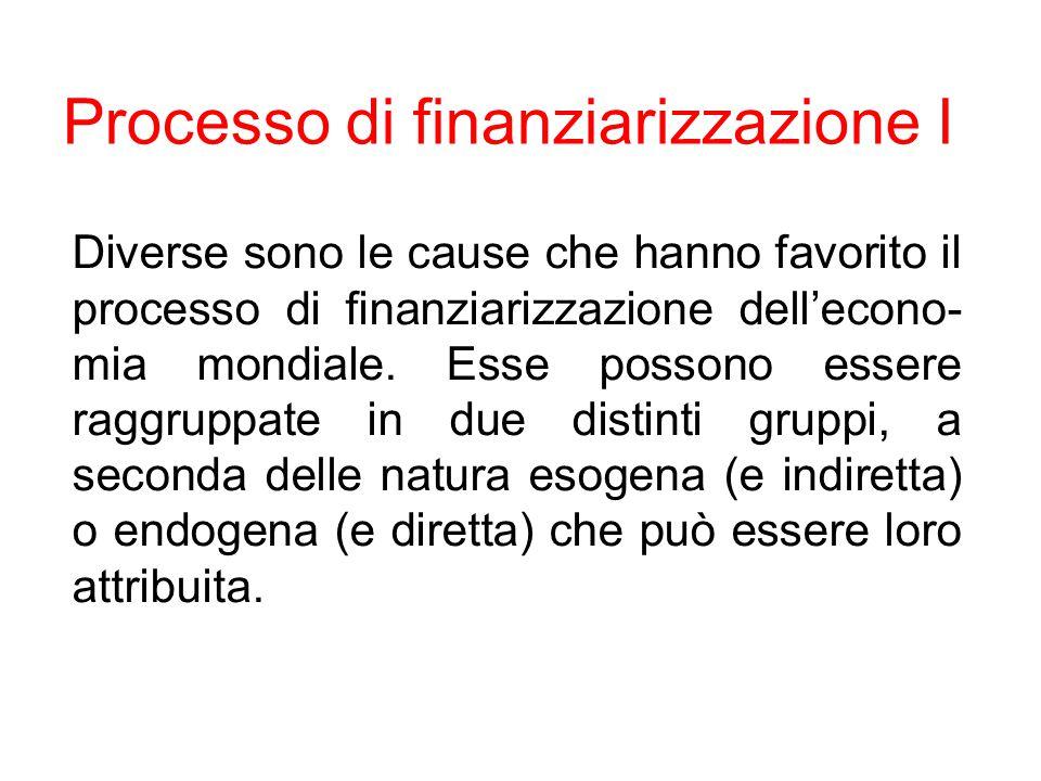 Processo di finanziarizzazione I Diverse sono le cause che hanno favorito il processo di finanziarizzazione dell'econo- mia mondiale. Esse possono ess