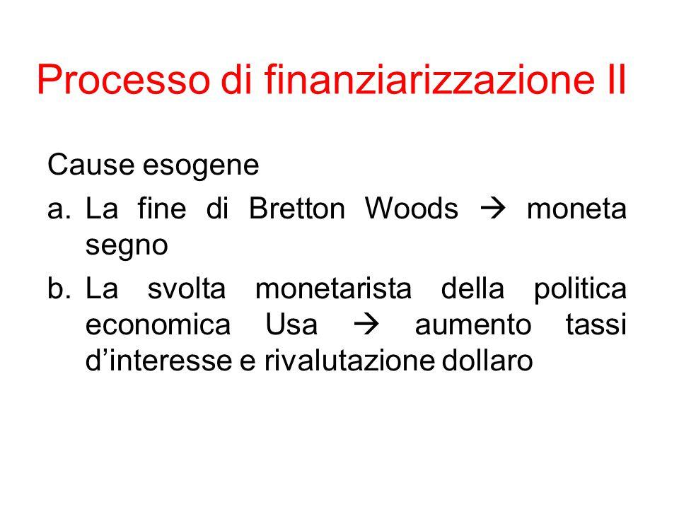 Processo di finanziarizzazione III Cause endogene a.Indebitamento PVS (petrodollari e eurodollari) b.Prodotti derivati, fondi pensioni c.Smantellamento welfare state d.Canalizzazione finanziaria redito da lavoro